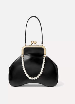 Simone Rocha Baby Bean Faux Pearl-embellished Leather Tote - Black