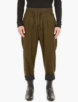 Haider Ackermann Green Wide-Leg Felt Trousers