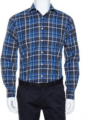 Etro Blue Checked Cotton Button Front Long Sleeve Shirt M