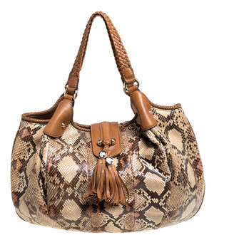Gucci Beige/Tan Python and Leather Large Marrakech Hobo