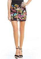 Nicole Miller Artelier Jungle Embroidered Mini Leather Skirt