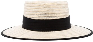 D'Estree grosgrain-trimmed straw hat