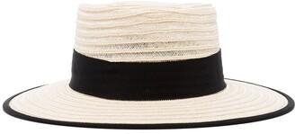 D ESTREE Grosgrain-Trimmed Straw Hat