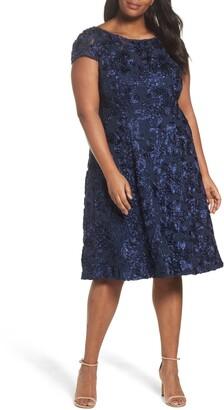 Alex Evenings Rosette Fit & Flare Dress