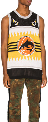Just Don Shark Basketball Jersey in Black & Yellow | FWRD