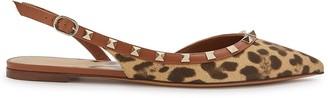 Valentino Rockstud leopard-print slingback flats