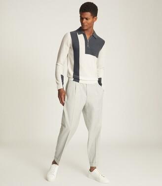Reiss Braydon - Colour Block Zip Neck Polo Shirt in Steel