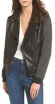 BP Women's Faux Leather Varsity Moto Jacket