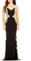 JVN by Jovani Embroidered Sides Illusion-Inset Long Dress