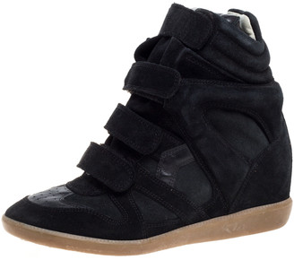 Isabel Marant Black Suede Leather Bekett Wedge High Top Sneakers Size 39