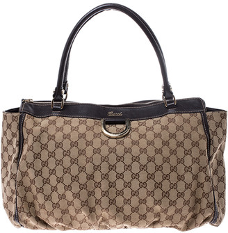 Gucci Beige/Brown GG Canvas and Leather D Ring Tote