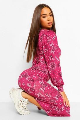 boohoo Bandana Print Puff Sleeve Midi Dress