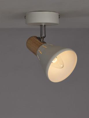John Lewis & Partners SES LED Single Spotlight, White/Wood