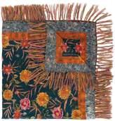 Wunderkind floral print fringe scarf
