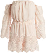Lucy Paris Blush Lace-Trim Off-Shoulder Romper