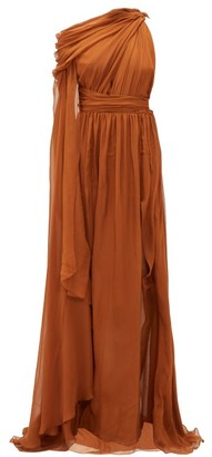 Dundas One-shoulder Silk-chiffon Gown - Brown