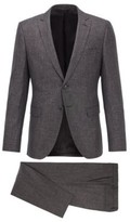 HUGO BOSS - Extra Slim Fit Suit In A Patterned Wool Blend - Open Grey