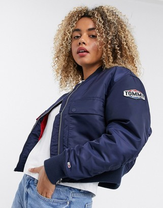 Tommy Jeans logo bomber jacket in navy