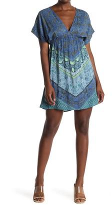 Angie Paisley V-Neck Empire Waist Mini Dress