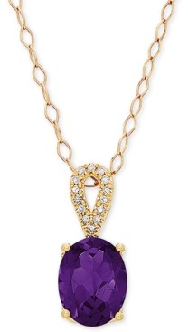 "Macy's Amethyst (1-5/8 ct. t.w.) & Diamond Accent 18"" Pendant Necklace in 14k Gold"
