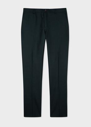 Men's Mid-Fit Dark Green Wool Flannel Trousers