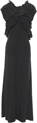 Marni Ruffled Crepe De Chine Maxi Dress