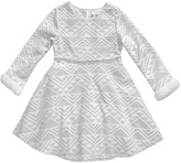 Youngland White Geometric Faux Fur-Accent Long-Sleeve Dress - Toddler