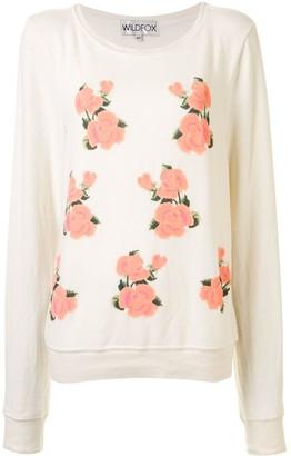 Wildfox Couture Rose Print Lightweight Sweatshirt