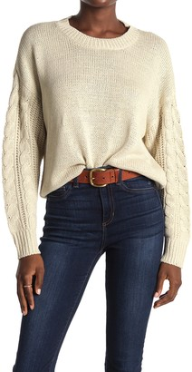 Modern Designer Cable Knit Sleeve Pullover Sweater