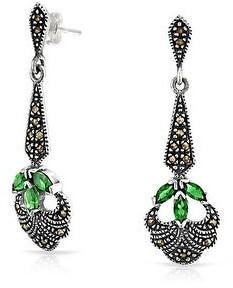 Bling Jewelry Green Imitation Emerald Glass Dangle Earrings Black Plating Sterling - 1.73