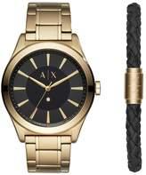 Armani Exchange Nico Men's Gold Plated Watch & Bracelet Set