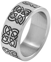 Celtic West Coast Jewelry Men's Stainless Steel Ring with Engraved Symbol - Black
