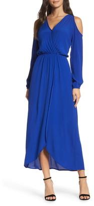 Fraiche by J Cold Shoulder Wrap Maxi Dress
