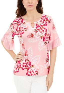JM Collection Petite Printed Ruffle-Cuff Top, Created for Macy's