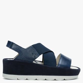 Fly London Bime Blue Leather & Suede Slab Sandals