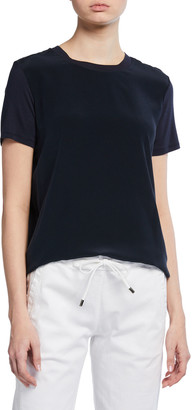 MAX MARA LEISURE Silk-Front Short-Sleeve Tee w/ Jersey Back