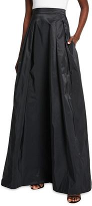 Rickie Freeman For Teri Jon Pleated Long Taffeta Skirt