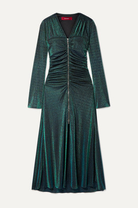 Sies Marjan Jade Ruched Lurex Midi Dress - Green