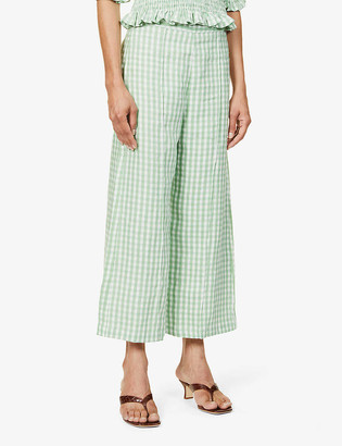 Faithfull The Brand Fasha gingham-print high-rise wide-leg linen trousers