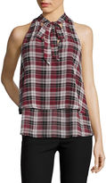 BY AND BY by&by Sleeveless Two-Tier Plaid Bow Blouse - Juniors