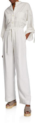 Vince Pencil-Stripe Drawstring Pull-On Pants