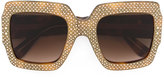 Gucci oversize crystal square sunglasses - women - Acetate/Swarovski Crystal - 54