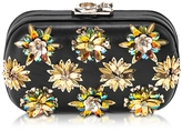 Corto Moltedo Susan C Star Black Nappa Leather and Gold Flowers Crystals Pochette w/Chain Strap