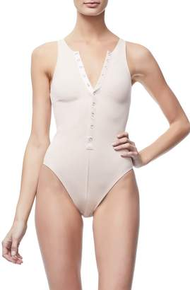 Ga Sale The Ribbed Snap Front Bodysuit - Blush001