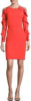 Jenny Packham Ruffled Long-Sleeve Illusion-Back Dress, Red Orange