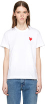 Comme des Garcons White & Red Heart Patch T-Shirt