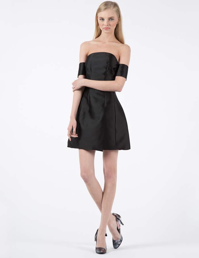 Carven Black Silk Satin Stitched Dress