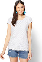 New York & Co. Lace-Overlay Scoopneck Tee