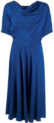 Alberto Biani Draped Neck Midi Dress