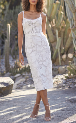 Monique Lhuillier Guipure Lace Midi Dress
